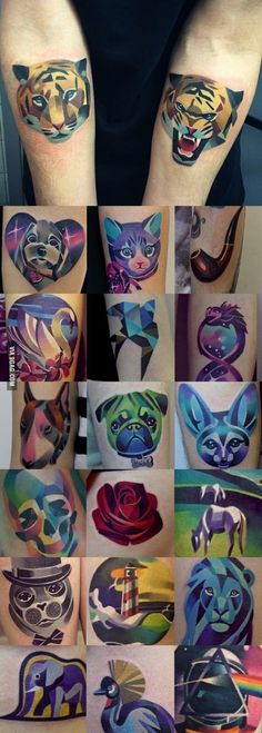Amazing tattoos by Sasha Unisex, artist from Moscow. 3d Tattoos, Girly Tattoos, Animal Tattoos, Cool Tattoos, Amazing Tattoos, Tatoos, Tattoo Hurt, Tattoo You, Tasteful Tattoos