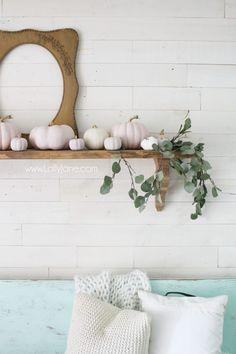 Pink Pumpkins, Painted Pumpkins, Fall Pumpkins, Pumpkin Arrangements, Fall Vignettes, Do It Yourself Crafts, Baby In Pumpkin, Pumpkin Decorating, Fall Decorating