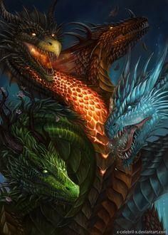 Black Dragon by x-Celebril-x on DeviantArt Mythical Creatures Art, Mythological Creatures, Magical Creatures, Dark Fantasy Art, Fantasy Artwork, Tiamat Dragon, Cool Dragons, Dragon's Lair, Dragon Artwork