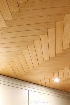 Can you believe this herringbone pattern ceiling is actually a BUDGET DIY? Can you believe this herringbone pattern ceiling is actually a BUDGET DIY? If … Can you believ Plywood Ceiling, Shiplap Ceiling, Wood Ceilings, Ceiling Tiles, Ceiling Design, Tray Ceilings, Plank Ceiling, Ceiling Panels, Covering Popcorn Ceiling
