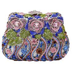 Luxury Crystal Clutch Evening Bags Rose Flower Sparkly Women Diamante Bag Colorful Wedding Banquet Handbags_10     https://www.lacekingdom.com/