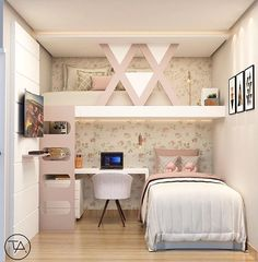 White room: 60 ideas and projects that can inspire you - Home Fashion Trend Cute Bedroom Ideas, Cute Room Decor, Girl Bedroom Designs, Awesome Bedrooms, Cool Rooms, Small Room Bedroom, Bedroom Decor, Small Apartment Bedrooms, Modern Bedroom