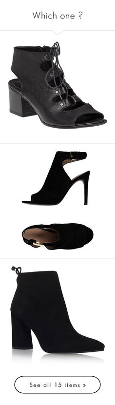 """""""Which one ?"""" by terryxx ❤ liked on Polyvore featuring shoes, sandals, heels, black leather, black heel sandals, mid-heel sandals, black shoes, block heel sandals, black leather sandals and black"""
