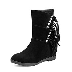 VogueZone009 Womens Kitten Heels Fringed Round Closed Toe Frosted Pull On Boots Black 34 *** See this great product.