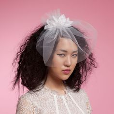 Stephanie - blusher veil with hand made flowers. Cappellino Bridal