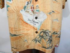 Tommy Bahama Silk Hawaiian Orange Club Castaway Bikini Babes Shirt Mens XL #TommyBahama #Hawaiian