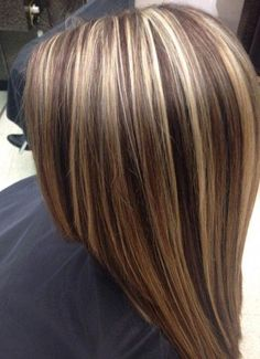 chocolate brown hair with chunky blonde highlights Chunky Blonde Highlights, Brown Blonde Hair, Light Brown Hair, Auburn Highlights, High Lights Brown Hair, Dark Brown Hair With Blonde Highlights, Summer Highlights, Short Blonde, Gray Hair