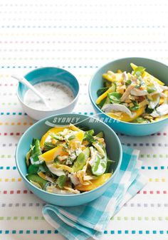 Mango & chicken salad with minted yoghurt  Prep 20 mins   Cook 10 mins   Serves 4