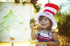 Dallas Baby Photographer, 2 year old girl, Holiday shoot, Christmas, Painting, Dr Seuss