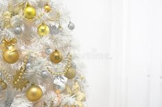 White Christmas Tree With Gold Decoration On White Background Stock Photo - Image: 63415433
