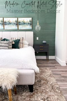 Are you trying to decorate your master bedroom but not sure where to start? Well an area rug is a great jumping off point for a master bedroom decor scheme. Today I'm sharing how I used our new bedroom area rug to help me create the look I wanted in the rest of this space. Country Bedroom Design, French Country Bedrooms, Modern French Interiors, Modern Bedroom, Bedroom Decor, Blue Home Decor, Farmhouse Interior, Bedroom Styles, House Rooms