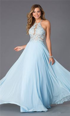 Blue Open Back Lace Blush PG006 Long Prom Dresses 2015