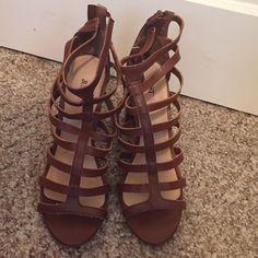 Brown Justfab Platform Heels