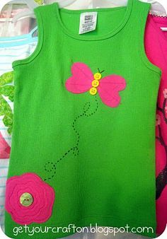 Embellished butterfly tank with tshirt scraps