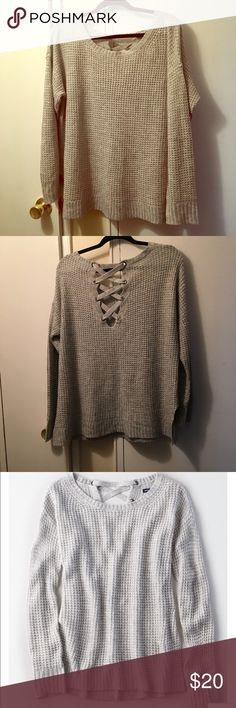 American Eagle Lace Up Back Waffle Knit Sweater Excellent condition. Light heather gray. See last pic for more details American Eagle Outfitters Sweaters