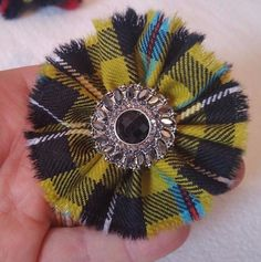 Handmade  Brooch,   Yellow Cornish Tartan