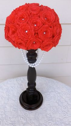 Red paper rose and pearl centerpiece on a black stand! Gorgeous addition to a black white and red wedding. by meagan Red Wedding Centerpieces, Pearl Centerpiece, Candle Centerpieces, Wedding Bouquets, Wedding Decorations, Centerpiece Ideas, Wedding Dresses, Our Wedding, Dream Wedding