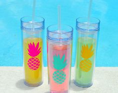 Pineapple Skinny Tumbler, Pineapple Cups, Tropical Themed Party, Bachelorette Party
