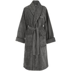 Gant Premium Velour Bathrobe - Anthracite ($121) ❤ liked on Polyvore featuring intimates, robes, gant, velour dressing gown, dressing gown, velour robe and bath robes