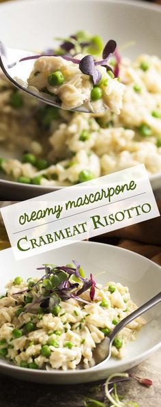 Creamy crab risotto makes a great one-pot meal! Sweet crab meat is mixed with mascarpone and baby peas in this quick dinner. Great for a weeknight or for date night. | justalittlebitofbacon.com