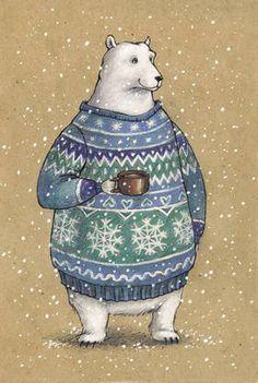 Рисованная авторская почтовая открытка с белым медведем из серии «Зверушки в свитере и с кружкой»