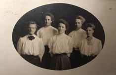 """Postcard from 1909 sent to Mrs. L.M. Walker of Rockland MA. On the back: """"This is a picture of five of the '09 girls. Do you recognize them? The 1st is Mattie Van Hausen 2nd Lou Bliss 3rd Myrtle McNicker 4th Ella 5th Olga Platz. With love Ella."""" Anyone recognize their great-grandma?"""