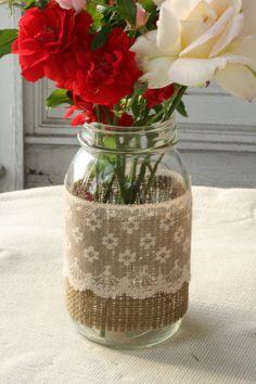 2 Burlap and Neutral Lace Quart Mason Jars by NRZimmerLong on Etsy, $9.00