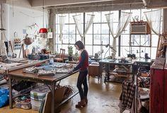 Amelie Mancini Studio Tour — One Kings Lane My Art Studio, Dream Studio, Home Studio, Studio Spaces, Garage Studio, Studio Ideas, Studio Interior, Interior Design, One Kings Lane