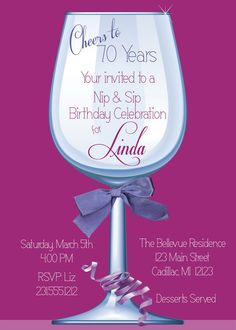 Women's Birthday Party Invitation 70th Birthday by FabPartyPrints