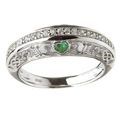 Sterling Silver Ladies Clear & Green CZ's Claddagh Ring 6.1mm
