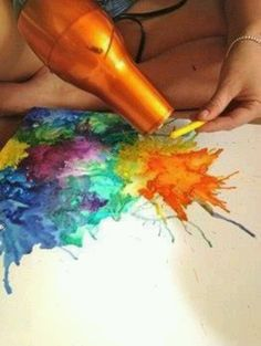 Melted Crayon Art-When I was a kid my brother and I used to make crayon art by placing paper atop a lamp bulb and coloring an image; probably not safe, but fun! - CG