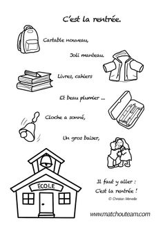 comptine illustrée pour la rentrée des écoles Back To School Art, Beginning Of School, First Day Of School, French Teaching Resources, Teaching French, French Poems, French Language Lessons, French Education, Songs