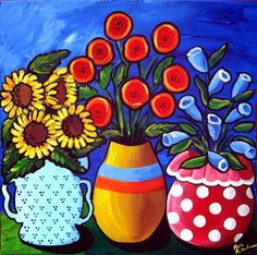 Three Vases by Renie Britenbucher (600 x 595) Fun, funky folk art piece with whimsical, colorful vases with fun flowers!