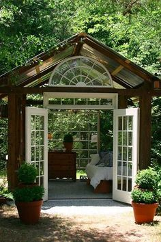 Backyard Gazebo Ideas She Sheds 17 Ideas Outdoor Bedroom, Outdoor Rooms, Outdoor Living, Garden Bedroom, Outdoor Beds, Open Shed, Shed Decor, Backyard Studio, Backyard Gazebo