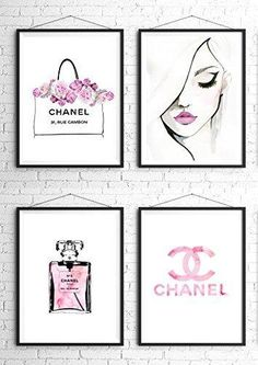 8.5x11 Set of 4 Coco Chanel Logo Splash Black Watercolor Art Print Wall Art Poster Fashion Artwork Fashion Illustration Modern Home Décor Motivational Gift