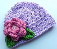 Crochet baby Hat Baby Girl Beanie Hat with Flower and by Karenisa