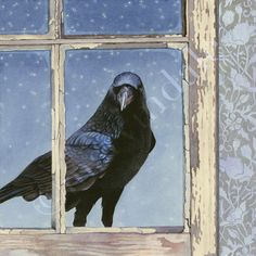 Crow Arrives at Dusk (framed art print from watercolour of crow in window at night by cori lee marvin)