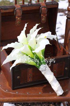 Cream Calla Lilly Wedding Bouquet by TrishBaileyDesigns on Etsy, $95.00