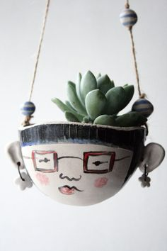 Ceramic hanging planter-Astrid hipster-garden plant pot