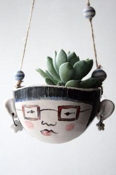 Ceramic hanging planter-Astrid hipster-garden plant pot £27.00