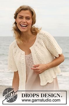 """Ravelry: 127-40 Jacket with wavy pattern and round yoke in """"Muskat"""" pattern by DROPS design"""
