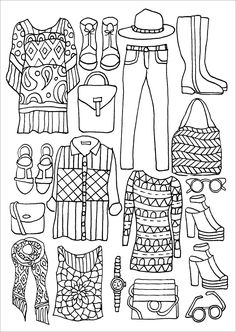 The Portable Adult Coloring Book - Fashion Designs Stress-Relieving Designs)… Pattern Coloring Pages, Coloring Book Art, Printable Adult Coloring Pages, Coloring Pages To Print, Coloring For Kids, Coloring Pages For Kids, Coloring Sheets, Easy Doodle Art, Simple Doodles