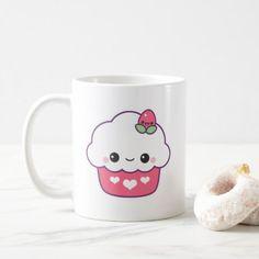 Cute Strawberry Cupcake Coffee Mug - girly gift gifts ideas cyo diy special unique