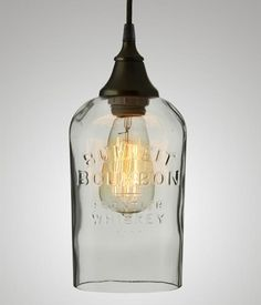 Bulleit Bourbon bottles have their name cast right into the front of the bottle. These shades are oval in shape x and are tall +/-. Whiskey Bottle Crafts, Glass Bottle Crafts, Diy Bottle, Bottle Art, Alcohol Bottle Crafts, Bottle Lamps, Beer Bottle, Bulleit Bourbon, Bourbon Bar