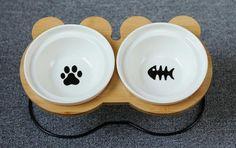 New High-end Pet Dog Bowl Bamboo Shelf Ceramic Food Jar, Food Bowl, Bamboo Shelf, Easy Eat, Pet Feeder, Dog Feeding, Pet Bowls, Ceramic Bowls, Your Pet