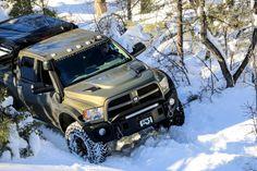 An AEV Ram, Mercedes G-Wagen, 70 Series Land Cruiser, and Jeep Cherokee hit the snowy trails Ram Trucks, Dodge Trucks, Diesel Trucks, Cool Trucks, Pickup Trucks, Aev Ram, Ram Power Wagon, 4x4, Overland Truck