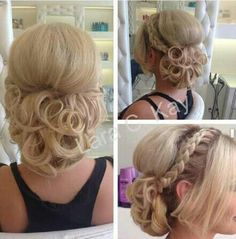 Updo with side braid and curls