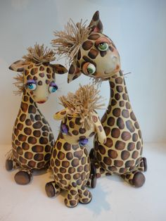 Painted and Adorned Giraffe Family _ using gourds