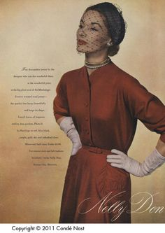 Vogue Aug 15, 1950 Nelly Don jersey dress with trapunto quilted pockets