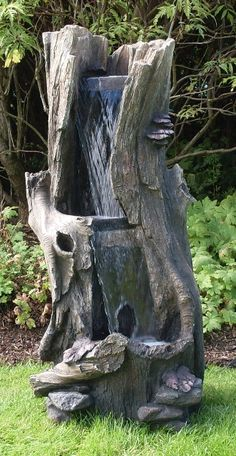 Two Tier Tree Trunk Waterfall Water Feature with LED Lights